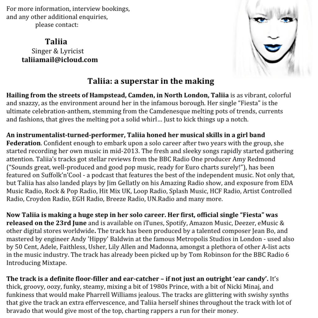 Пресс-Релиз Дебютного Сингла Талии «Фиеста» и  Мини-Альбома «Та, Что Из Сентября» на английском языке