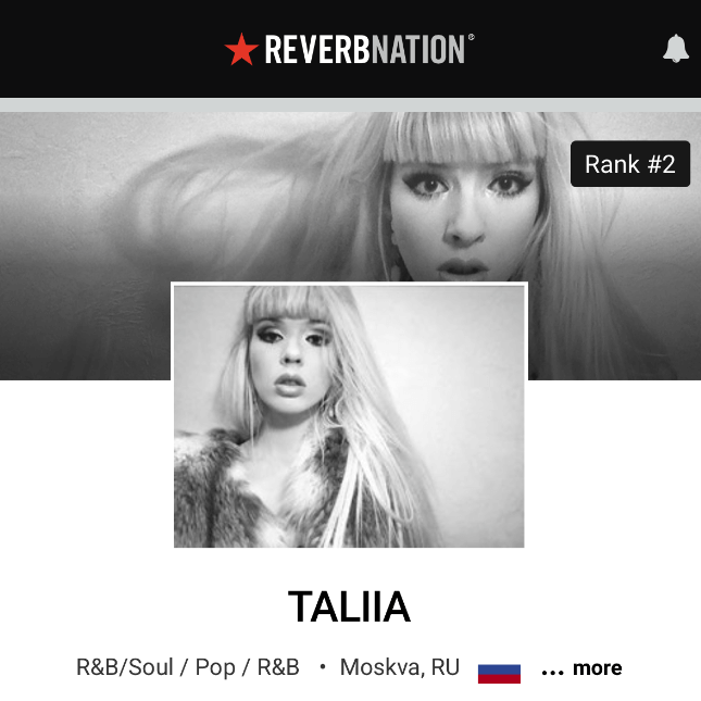 Taliia is #2 on ReverbNation